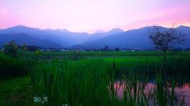 夏の夕方の常念岳