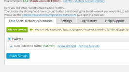 Social Networks Auto-Poster設定画面