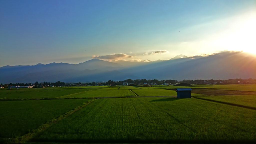 夕暮れ時の常念岳と田んぼ