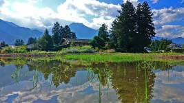 曽根原家住宅から見る有明山と水鏡