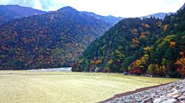 高瀬ダムのダム湖の紅葉