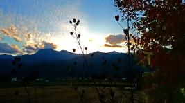 松川村から見る夕暮れ時の風景