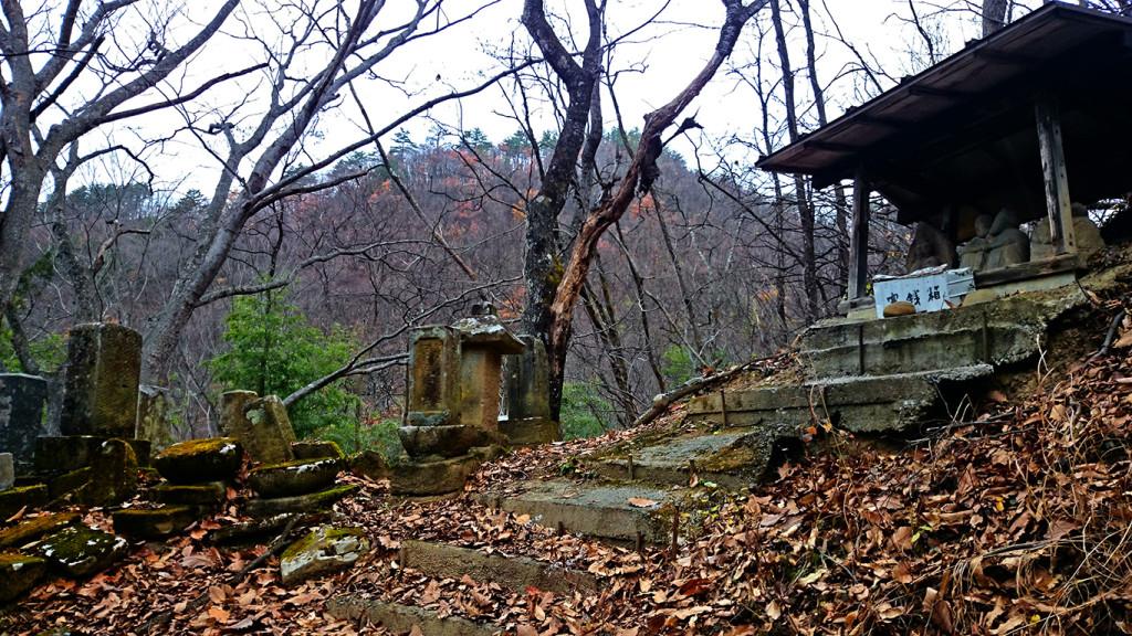 池桜の接吻道祖神と横の墓地