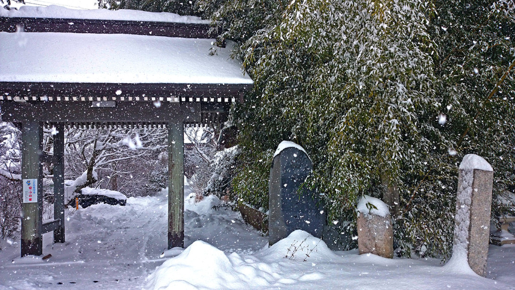 正真院の門と雪を被った竹。