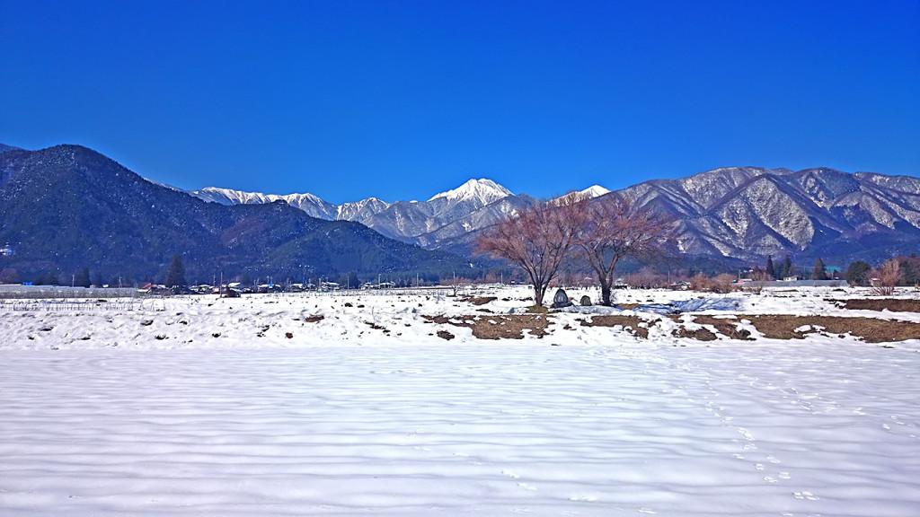 雪景色の常念道祖神からの常念岳