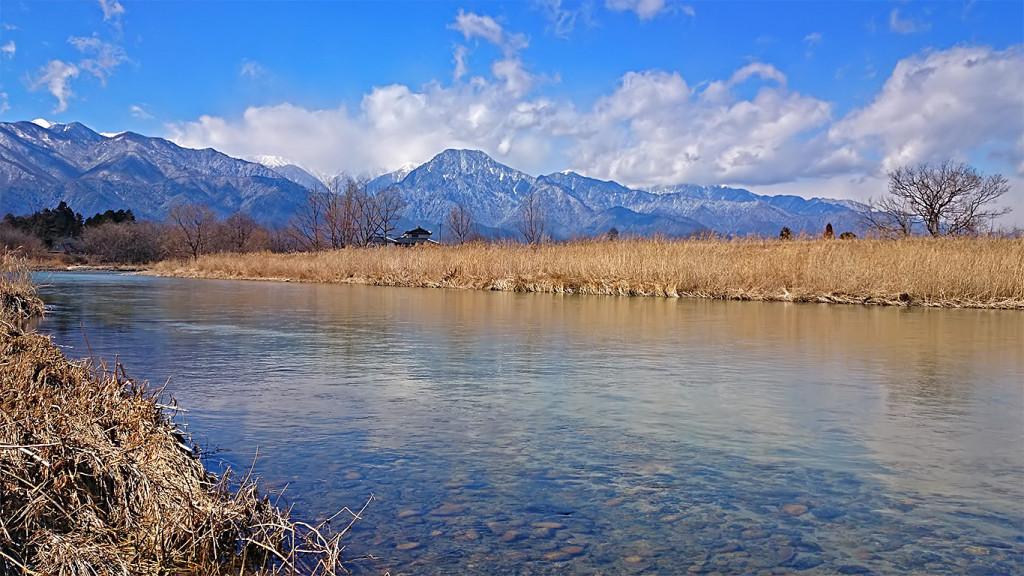 早春の穂高川2