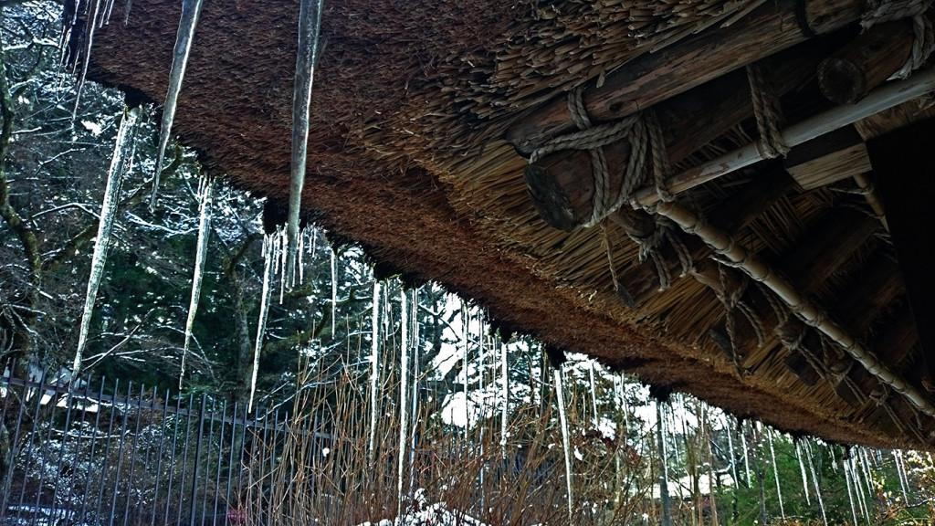 松尾寺の水車小屋の茅葺き屋根から垂れ下がるつらら