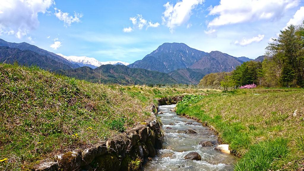 油川から見る有明山と大天井岳