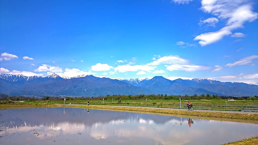 自転車と田んぼの水鏡