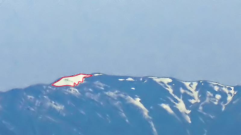 蝶ヶ岳の蝶の雪形