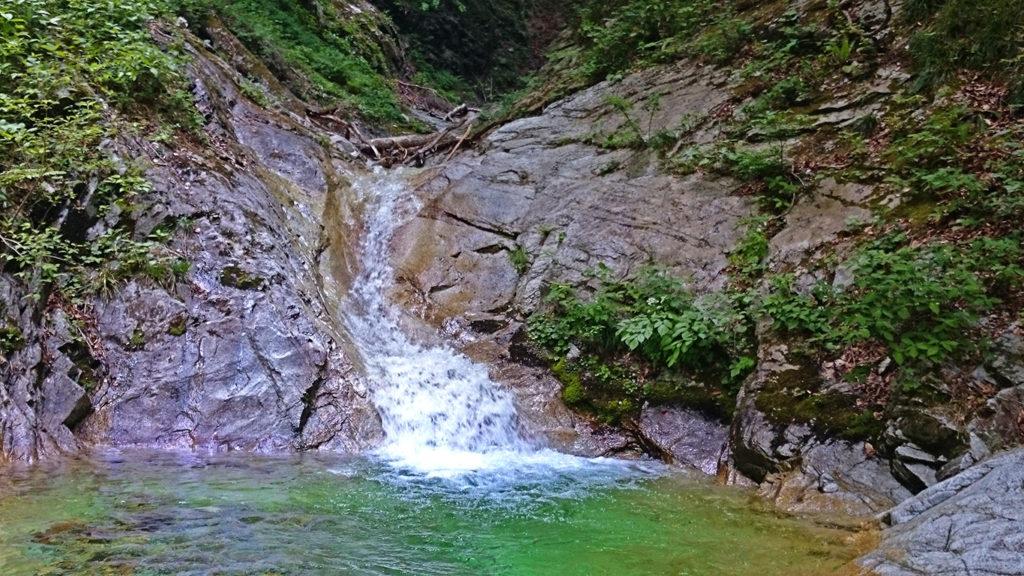 高瀬川支流の小さな滝