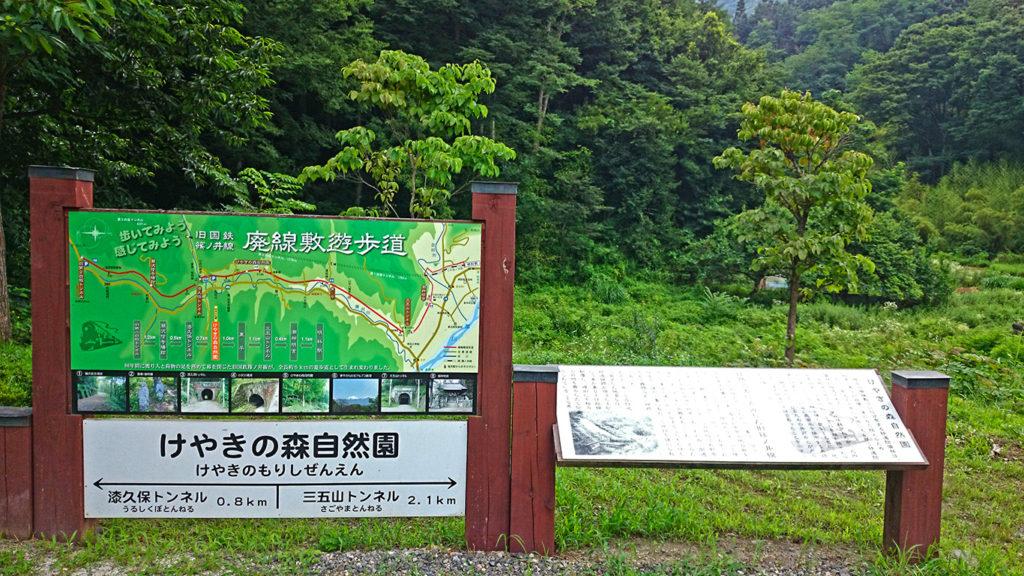駅を意識した旧国鉄篠ノ井線廃線敷の看板