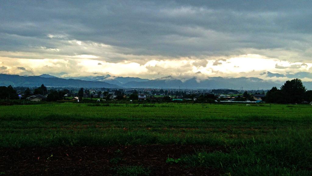 雨降りの田んぼと山