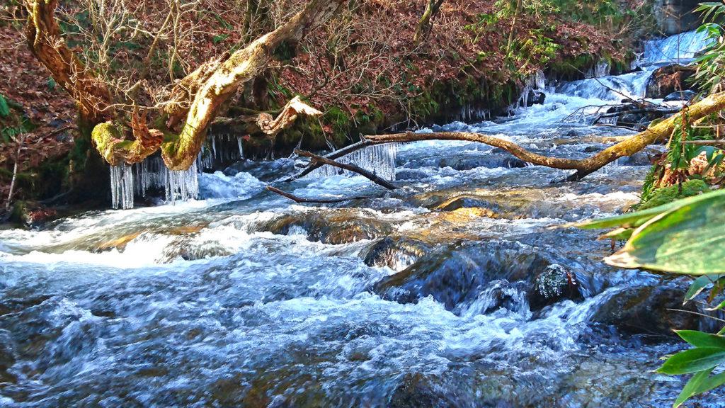 あちこち氷柱が垂れ下がる油川