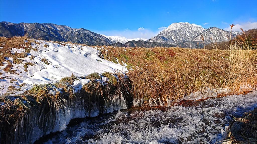 油川から見る厳冬期の有明山