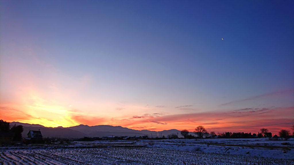 豊里界隈から見る見事な朝焼け