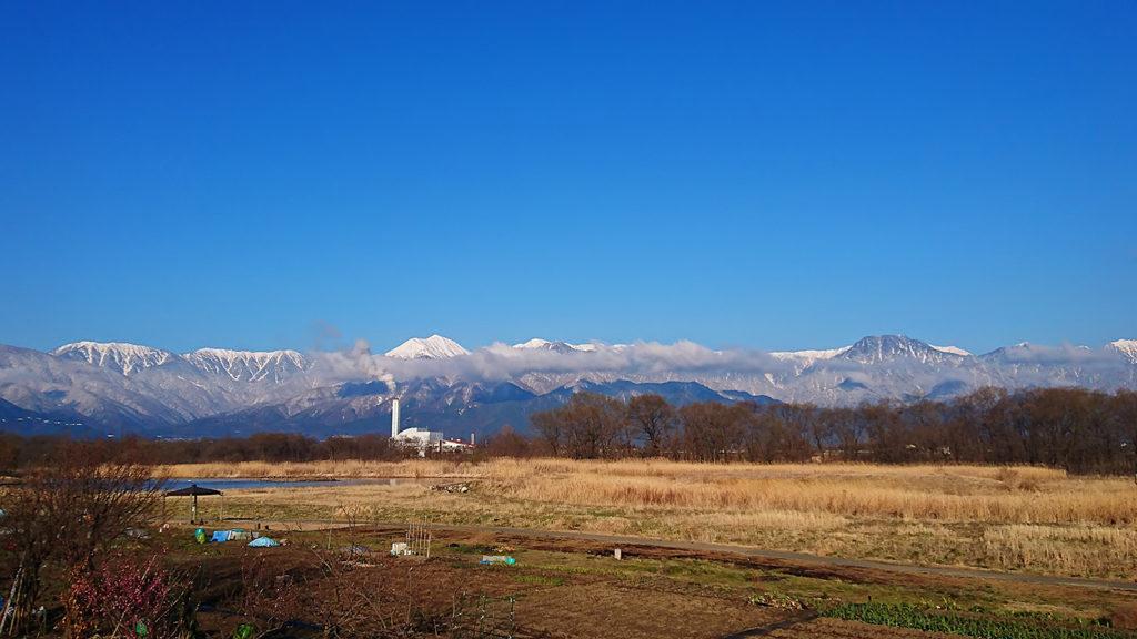 御宝田遊水池ちかくから見る北アルプス