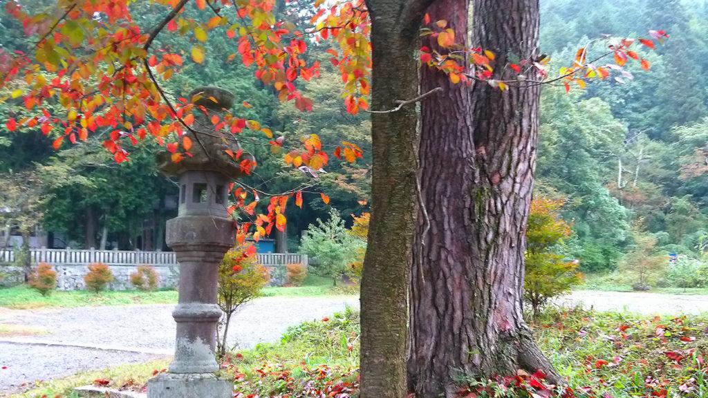 有明山神社の石灯篭と紅葉
